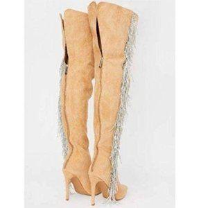 Tan Over The Knee Boots w/ Rhinestone Fringe